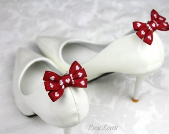 Valentines Day Shoe Clips, Valentines Day Bows for Shoes, Valentine's Gift for Her, Valentines Day Gift for Her, Red Shoe Clips
