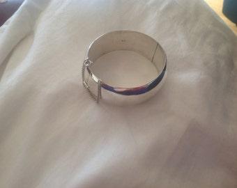 Estate wide Sterling Silver high polish bangle bracelet