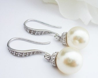 SALE Wedding Jewelry Bridesmaid Gift Bridal Jewelry Pearl Earrings White OR Cream Swarovski Round Pearl Drop Earrings Cubic Zirconia Earring