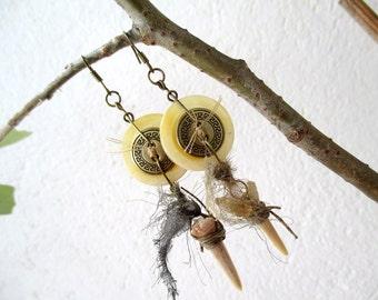 button earrings, earrings with shark tooth fossils , steampunk earrings,OOAK