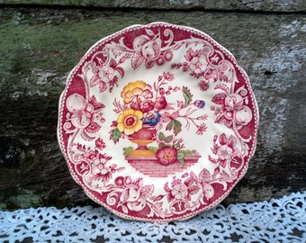 """Antiques Royal Doulton Pomeroy Side Plate, 6 1/2"""", England, English Transferware, Serving, Floral Pattern, Wall Decor"""