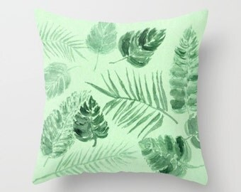 Green Tropical Leaf Throw Pillow Cover, palm leaf pillow, palm leaves pillow, green leaf pillow, tropical leaf pillow, tropical pillow