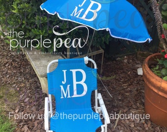 Monogrammed Kids Chair, Monogrammed Beach Chair, Monogrammed Kid's Beach Chair w/ umbrella, Boys Chair, Childs Beach Chair, Kids Beach Chair