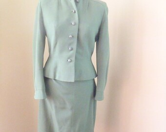 Army Olive Green 40s Nipped Waist Suit