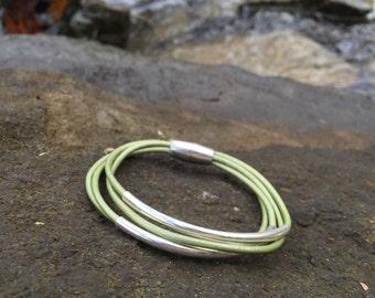Olive Green Multi Strand Leather Bracelet