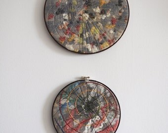 "Diptych (2 wall panels)  ""Cosmos and Chaos"" - wet felting and embroidery from wool, silk fibers and threads - OOAK - ready to ship"