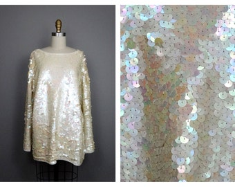 Iridescent Ivory Beaded Sequined Blouse / Pearlescent Sequin Fully Embellished Top