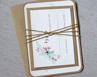 Rustic Wedding Invitations - Floral Wedding Invitations, Vintage Wedding Invitation, Boho Wedding Stationary. Custom Stationary