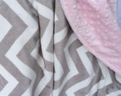 "29x37"" Double Minky Chevron in Silver Grey with Light ""Baby"" Pink Minky Dot Ready to Ship Travel Blanket too"