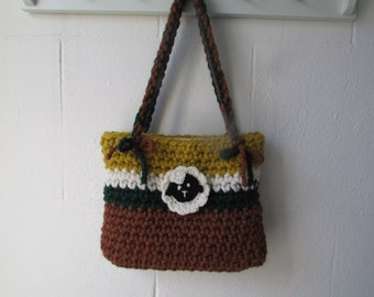 Crochet bag with removable sheep brooch