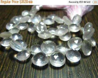 "MEGA SALE Rose Quartz Madagascar Faceted Heart Briolette- 7"" Strand -Stones measure -7-9mm"