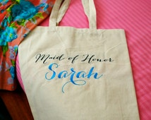 Bridesmaid Tote Bag, Gift wrapping for Bridal party, custom embroidered Tote Bag, favor bag