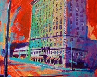 Cactus Hotel San Angelo Texas Giclee Canvas Landmark Print Wall Art Colorful Abstract Pop Art