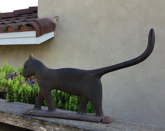 Antique Primitive Cat Boot Scrapper, Door Stop