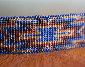 Vintage Native American handmade beaded hair barrette- blue and orange