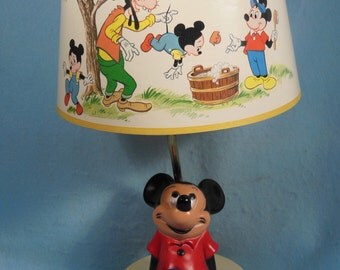 Vintage-Walt Disney Productions-Mickey Mouse Lamp and Night-light-With Shade