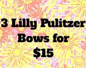 3 Lilly Pulitzer bows for fifteen dollars