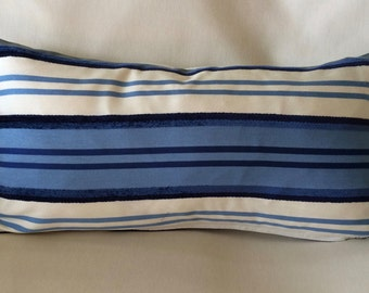Pair of Unique Kidney Pillow Covers-Blue and Off-white Stripe Design-11 x 22 inch-Free Shipping
