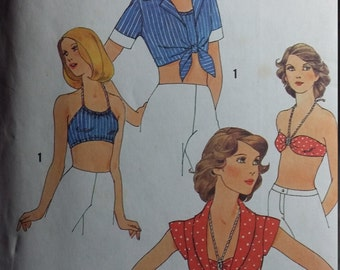 Vintage Simplicity 7008 Sewing Pattern Size 10 Tops, Halter, and Bra 1970s Fashions