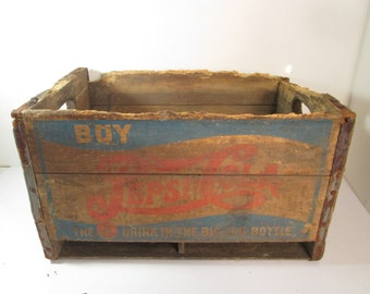 Pepsi Cola Wooden Crate, 1940's Two Dot Pepsi Crate