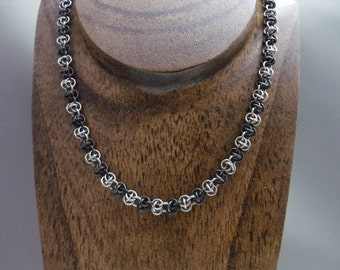 Zebra Barrel Weave Chainmaille Necklace