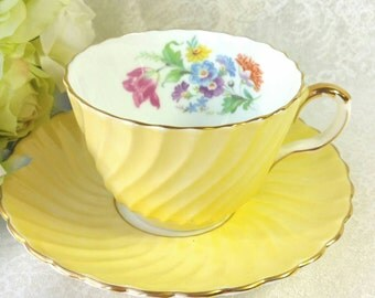 AYNSLEY Bone China Tea Cup and Saucer /  Stunning Yellow Set with Floral Design / Collectible