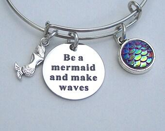 """Mermaid Jewelry,"""" Be A Mermaid And Make Waves """", Whimsical Mermaid Bangle, Gift For Her, Mermaid Scale Charm , Mermaid Jewelry, Under 20"""