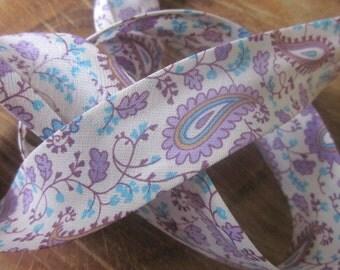 Purple Paisley Print Cotton Bias Binding - 25mm Bias Binding - Floral Edging -Purple Floral Trim - Paisley Bias Binding -Floral Bias Binding