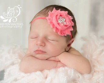 FREE SHIPPING! Coral Baby Headband, Coral Headbands, Coral Flower Headbands, Newborn Headbands, Baby Headband, Coral Photo Props