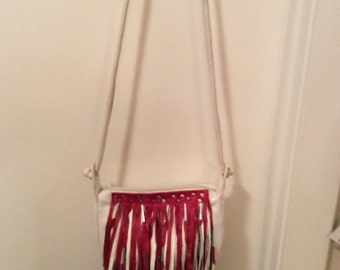 Red white and blue leather repurposed fringe bag