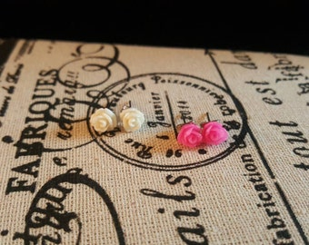 Pink & White Rose Earring Set
