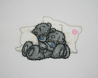 SNUGGLING TEDDY BEARS Embroidered Quilt Block