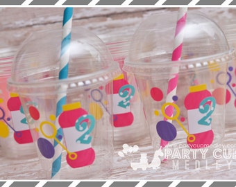 Bubble Birthday Party, Set of 8 or 12 You Choose Party Cups, Favor Cups or Reusable Souvenir Cup