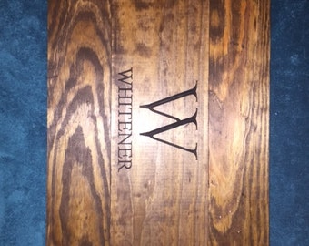 Rustic personalized reclaimed wood engraved serving tray Valentines wedding gift mothers day birthday anniversary party favor