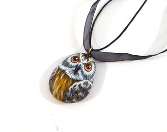 Hand painted rock pendant - Brown owl, wearable art