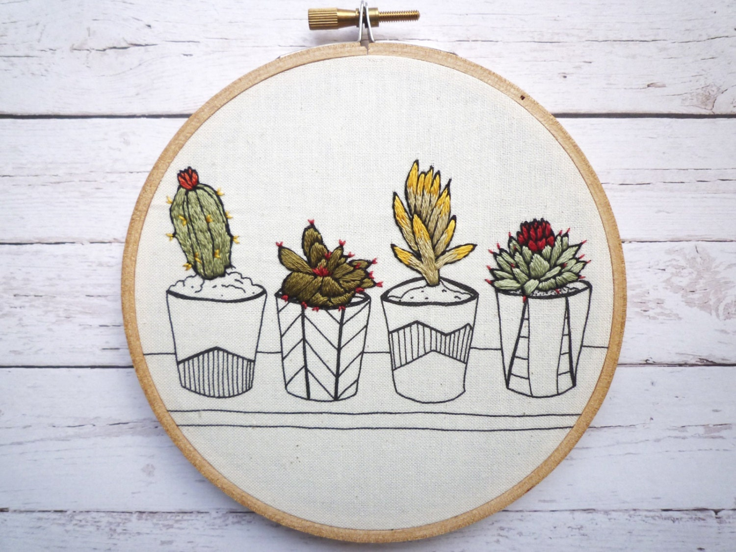 Embroidery art pots in a row inch stitch by