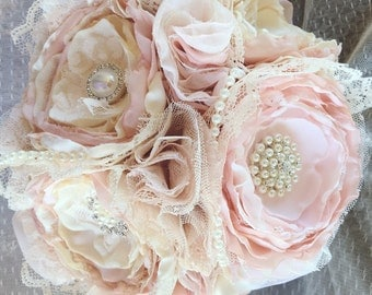Blush and lace fabric  bouqhet, bride bouqhet, vintage brooch bouquet