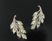 This item is ON SALE BOGOFF signed Clear marquis rhinestone earrings designer clip back bridal jewelry