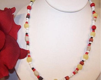 """ON SALE Vintage white red black yellow brown GLASS 25"""" necklace"""