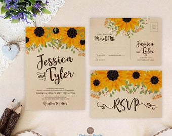 Rustic wedding invitation sets | Sunflower wedding invitations printed on brown kraft paper | Winery barn wedding invites