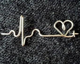 EKG brooch, heartbeat brooch, ECG broke, heartbeat pin, EKG pin, heartbeat sweater pin, heartbeat jewelry, gift for nurse, nurse brooch