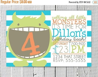 SALE Instant Download diy Monster Custom Birthday Party Printable Invitation, Cute Monsters Birthday Invite Customized, Boy Birthday Party S