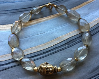 Mystic Smoky Quartz and Buddha Head Bracelet