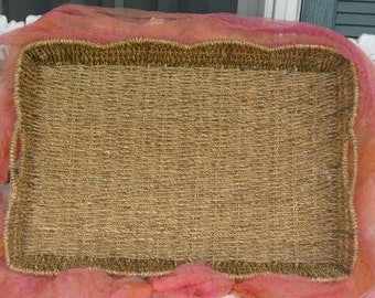 Vintage Wicker Tray - Scalloped, Breakfast or Dinner, Two Handles - 1970's - Fabulous!