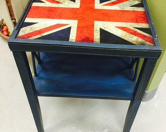 Vintage Shabby Chic Painted Blue Union Jack End Table Nightstand
