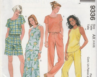 McCall's 9336 Size 4-6-8 or 8-10-12 Misses' Tops, Pull-On Bias Skirt, Pull-On Pants or Shorts Sewing Pattern 1998 Uncut