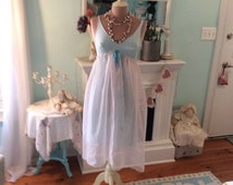 Upcycled Slip Dress Powder Blue Fairytale Pale Pink Dotted Swiss Marie Antoinette Enchanting Mori Girl