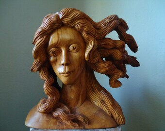 Carved Venus Wood sculpture - Carved wood spirit - Large Wood art - Female bust, Large wood sculpture, Table centerpiece, Female Wood spirit