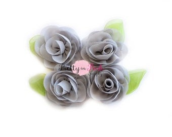 Grey Chiffon Rose with Leaf Flower...You Choose Quantity...Chiffon Rose Flower...Rolled Rosettes...Mini Rolled Rosettes...Shabby Rose