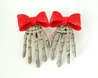 Red Bow Skeleton Hand Hair Clips (pair)